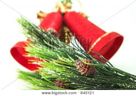 red bells and christmas tree