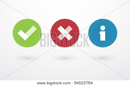 Right Wrong And Information Symbol In Circle