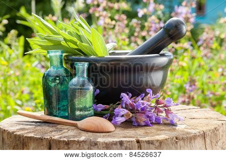 Black Mortar With Sage Herbs, Glass Bottles Of Essential Oil Outdoors. Herbal Medicine.