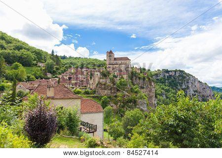 Village Of Saint Circ Lapopie In France In Summer