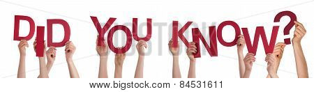 People Hands Holding Red Word Did You Know