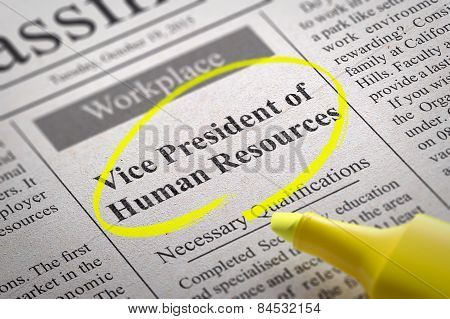 Vice President of Human Resources Vacancy in Newspaper.