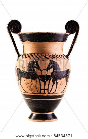 Ancient Apulian Vase Over White
