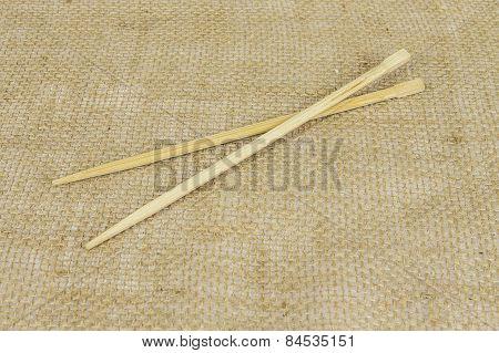 Chopsticks On Burlap