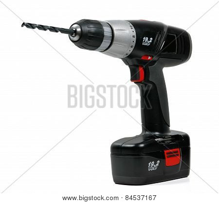 An electric cordless drill with battery pack and drill bit, isolated on white poster