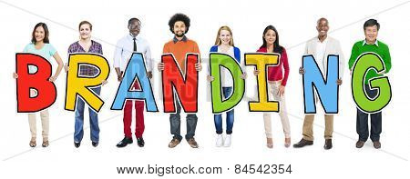 Group of People Standing Holding Branding Letter