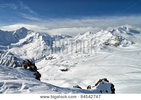 Mountain Baksan Valley, Elbrus And Cheget, Russia.
