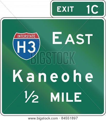 Hawaii Interchange Advance Guide Signs