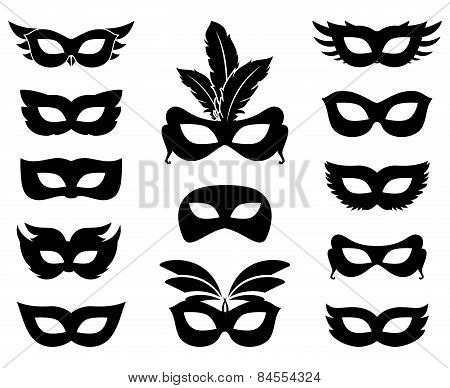 Carnival mask silhouettes