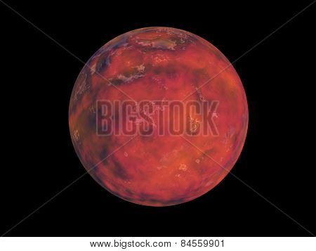 Red Planet In Space On A Black Background
