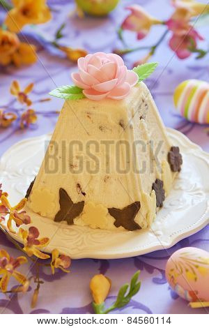 Traditional Easter cottage cheese dessert with orange and chocolate