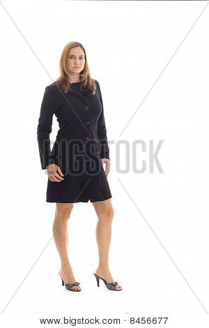 blonde woman in black business suit vertical