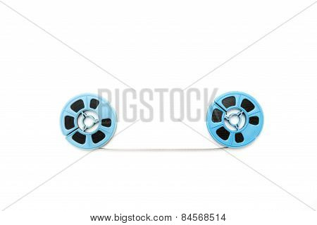 Vintage 8Mm Blue Movie Reels White Background