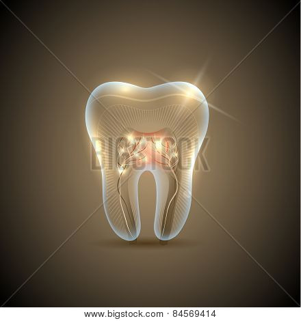 Beautiful Golden Transparent Tooth With Roots Illustration