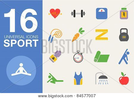 Sport and healthy life concept flat icon set of jogging, gym, food, metrics etc. Isolated vector ill
