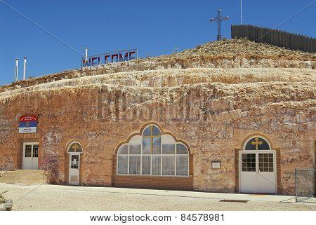 Exterior of the underground Serbian Orthodox Church in Coober Pedy, Australia.