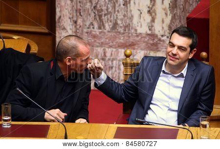 Alexis Tsipras Talks With Finance Minister Yanis Varoufakis