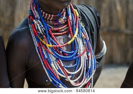 poster of Necklaces of a Arbore tribe woman from Omo valley Ethiopia