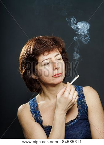 Young woman smoking cigarette healthcare concept isolated poster