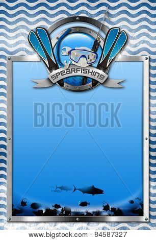 Vertical signboard with metal frame landscape of the sea abyss blue and white waves spearfishing metal symbol. Template for spearfishing sport poster