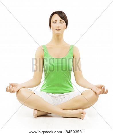 Yoga Woman In Meditation Sitting In Lotus Pose. Female Meditating Exercise Isolated Over White