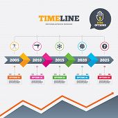 Timeline infographic with arrows. Hotel services icons. Air conditioning, Hairdryer and Ventilation in room signs. Climate control. Hairdresser or barbershop symbol. Five options with hand. Growth chart. Vector poster