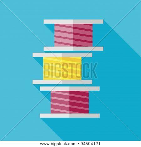 Vector flat tailor thread bobbin icon. Tailor sing. Eps10 poster