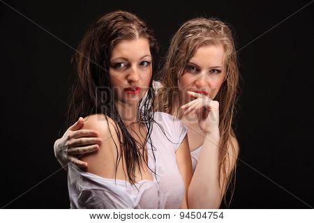 Two Wet Lesbian Beautiful Woman Playing