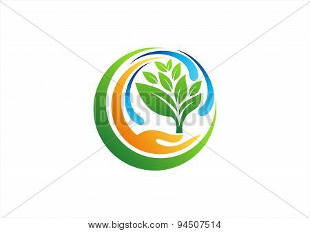 plant, circle, hand, logo,healthy,natural, water, spring, tree symbol icon vector design,wellness,yo