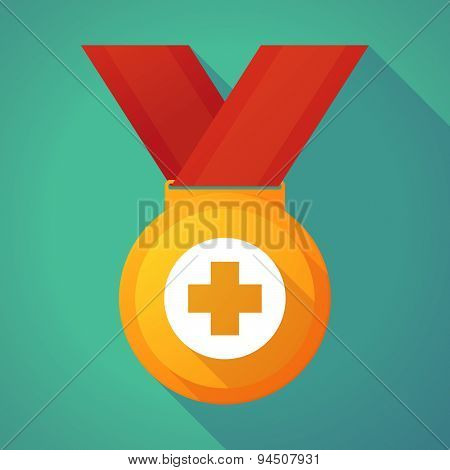 Long Shadow Gold Medal With A Pharmacy Sign