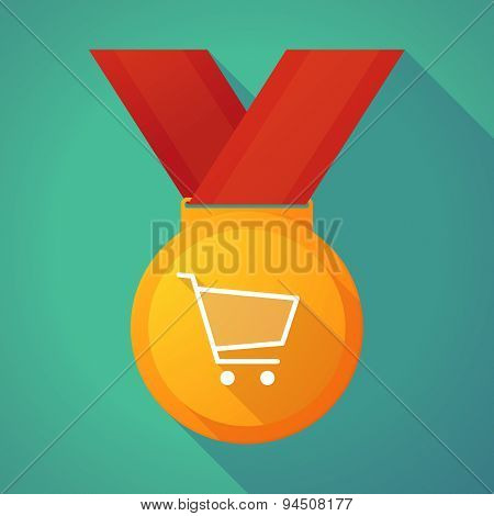 Long Shadow Gold Medal With A Shopping Cart