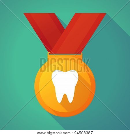 Long Shadow Gold Medal With A Tooth