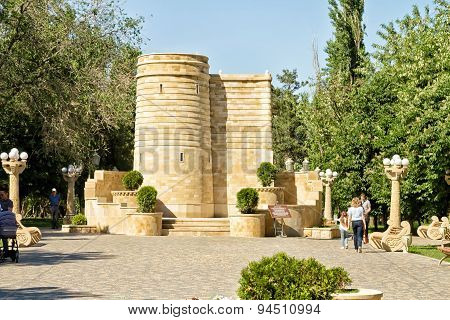 Copy Of The Maiden's Tower Monument Installed In Baku