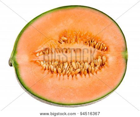 Ripe Melon Cantaloupe Slice Isolated On White Background