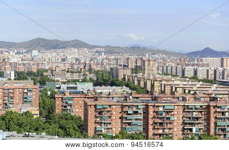Houses and apartments in Suburban sprawl of the City of coastal Barcelona, Spain poster