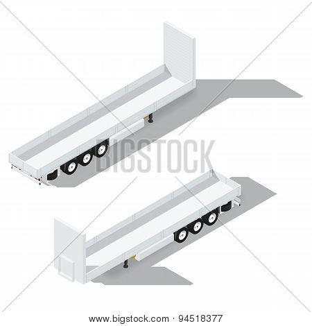 Sider Semitrailer Isometric Detailed Icon