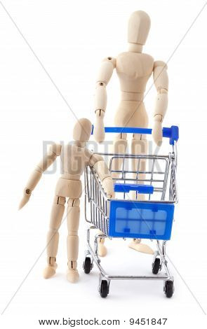 Wooden Dolls Family Go To The Supermarket With Shopping Cart