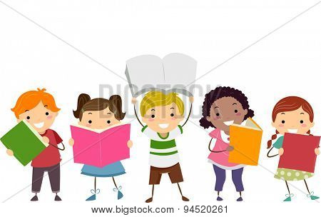 Doodle Illustration of Kids Showing the Books That They are Reading