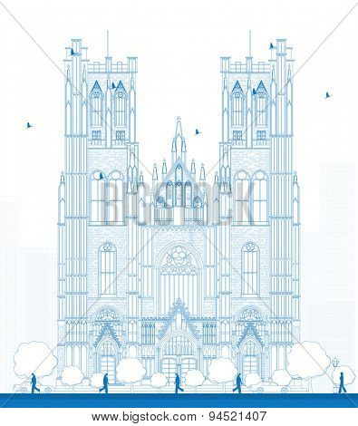 Outline building of the Cathedral of St Michael and St Gudula in the center of Brussels, Belgium. Vector illustration