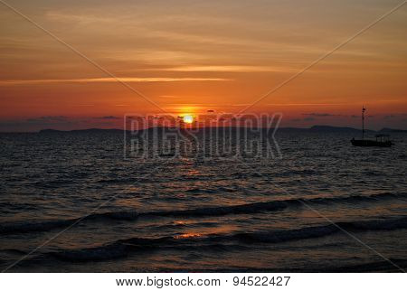 Sunset on the tropical coast