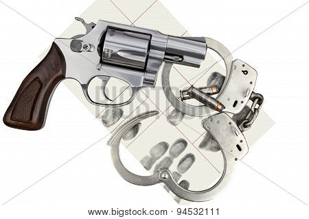 Gun With Handcuffs And Fingerprint Id For Criminal Arrest