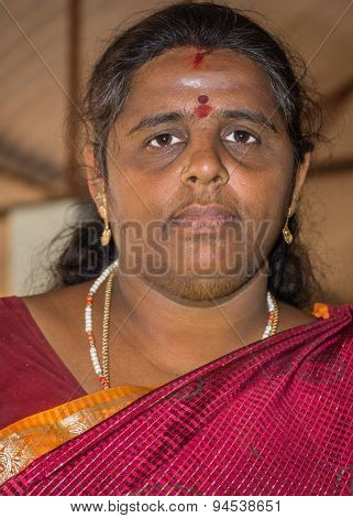 Bearded Indian Woman In Thanjavur.