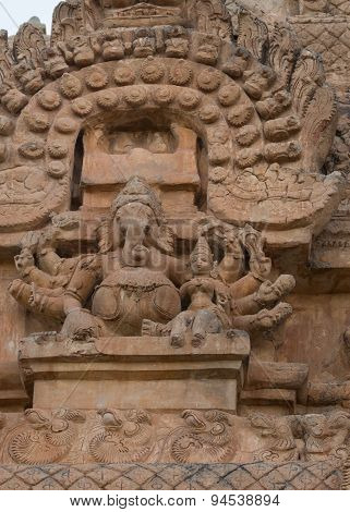 Lord Ganesha Statue On Gopuram Of Brihadeswarar Temple.