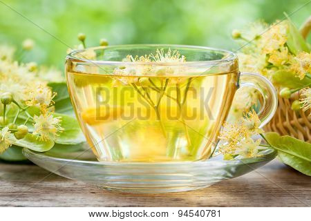 Cup Of Healthy Linden Tea, Herbal Medicine.