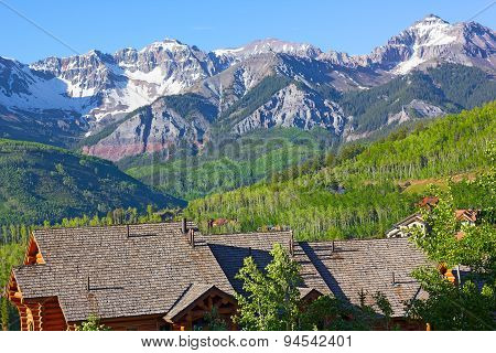 Panorama of Telluride Mountains and houses in Colorado USA.