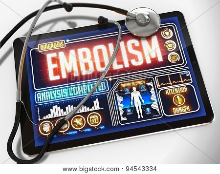 Embolism on the Display of Medical Tablet.