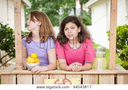 Two Young Girls Selling Lemonade