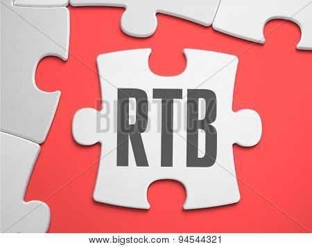 RTB - Real Time Bidding - Text on Puzzle on the Place of Missing Pieces. Scarlett Background. Close-up. 3d Illustration. poster