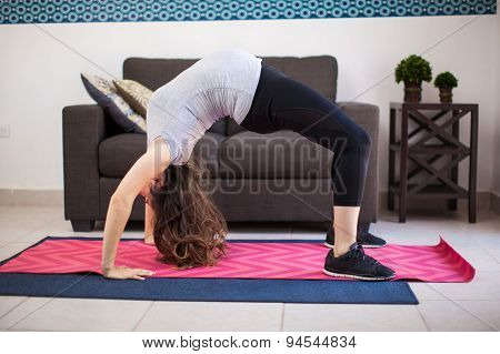 Pregnant Woman Doing A Backbend