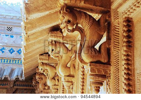 Carved Stone Cornice Support